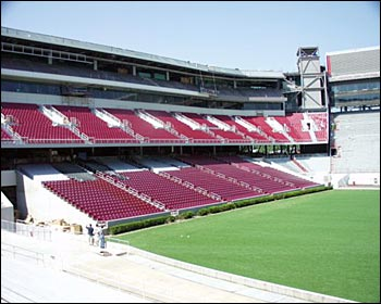New south end zone of Razorback Stadium